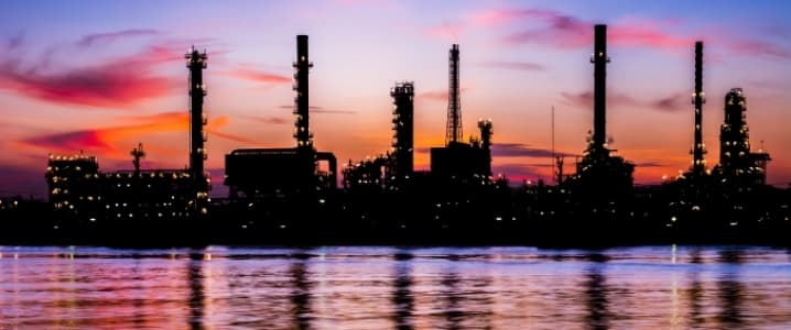 Oil refinery sunset