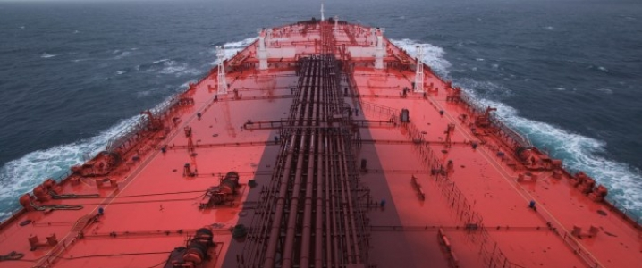 Supertanker at sea