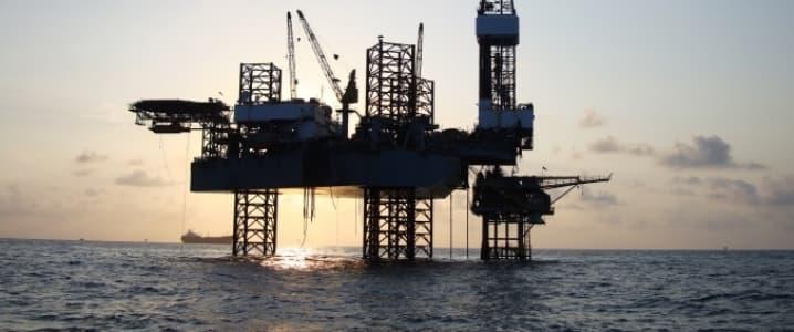 Oil rig dusk