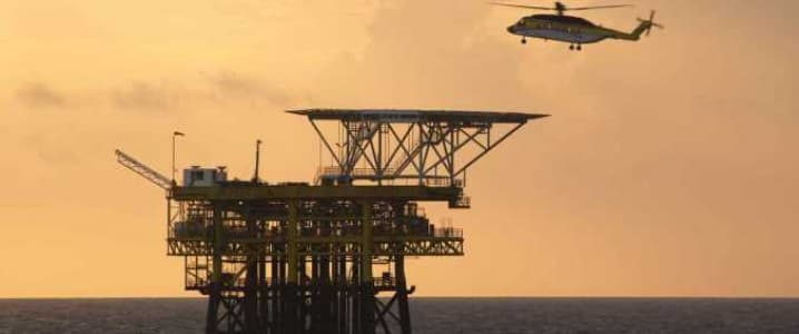 Helicopter on offshore rig
