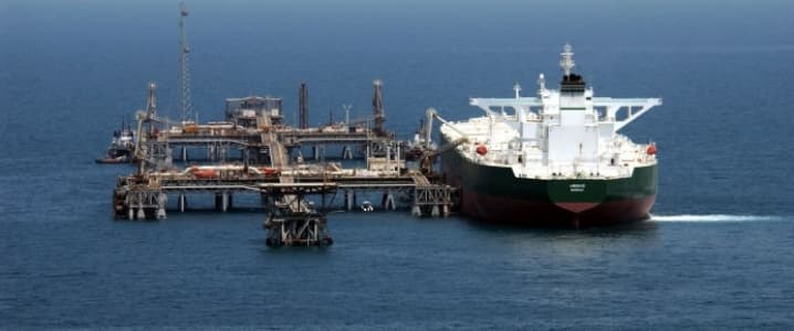 Oil tanker loading offshore