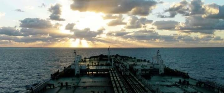 Crude tanker at open sea