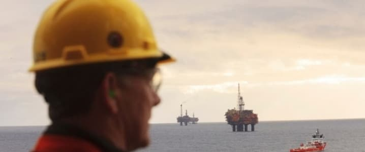 Oil worker offshore