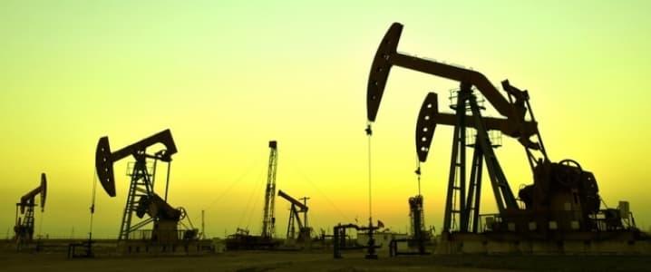 Oil rigs dusk