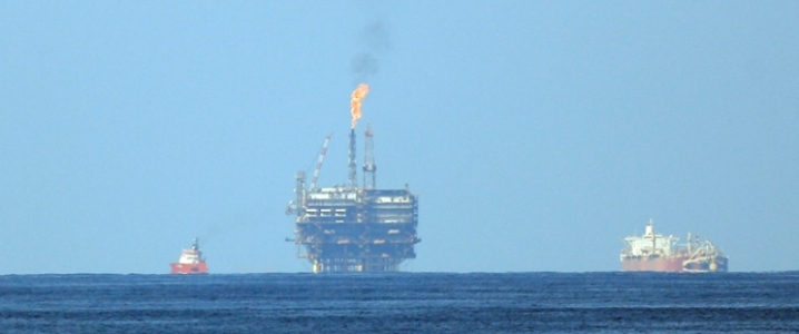 Offshore rig distant