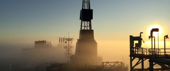Oil rig misty