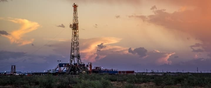 Permian rig sunset