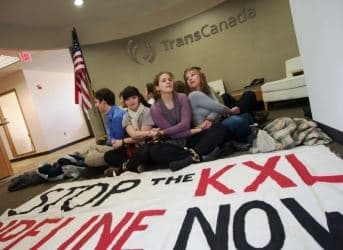 Protesters Fill TransCanada Lobby over Keystone XL
