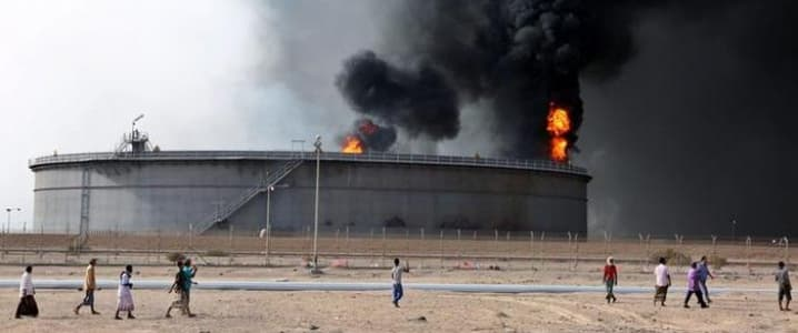 Oil terminal on fire