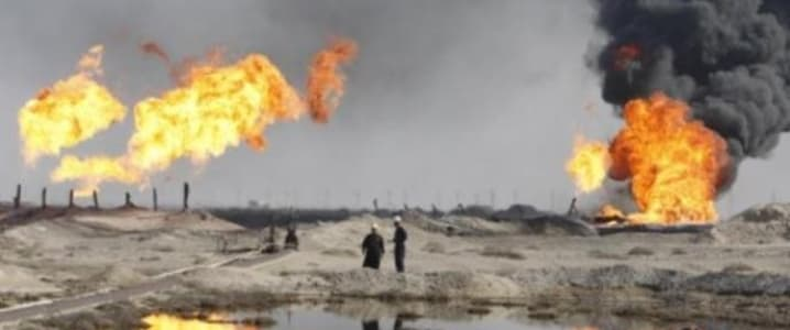 Iraq oil field fire
