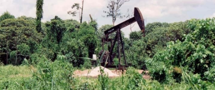 Oil production rig in the jungle