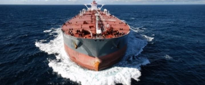 Oil tanker at open sea