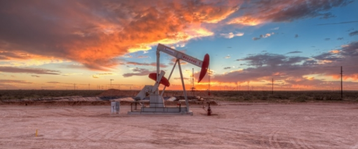 oil jack sunset