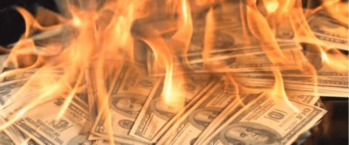 Dollars on fire